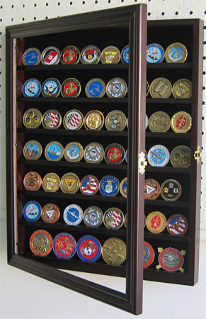Medal Coin Or Casino Chip Display Case In Mahogany